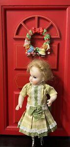 "Vintage Christmas Silk, Lace cotton dress/German/French mignonette dolls 7.5""&8"
