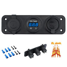 Cargador dual USB voltimetro Encendedor cigarrillos Mechero de Coche Barco  azul