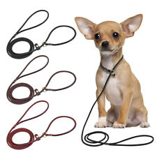 Brown Black Soft Real Leather Dog Slip Lead Training Rolled Leads for Puppy Dogs