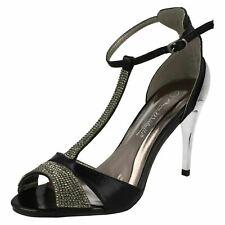 Ladies Anne Michelle Black Diamante Detail Open Toe Strappy Heels : F10279