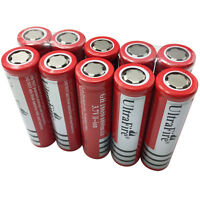 10 X 18650 Batteries 6800mAh 3.7V Rechargeable Li-ion Battery Flat Top for Torch