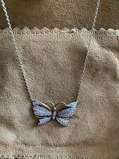 9ct Oro y Diamante Colgante Collar de mariposa