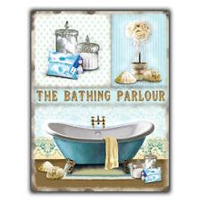 The Bathing Parlour Vintage Rétro Toilette Salle de Bain Métal Signe Mur Porte Plaque