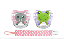 Dr Brown's PreVent Pacifiers 2-Pack with Pink Clip