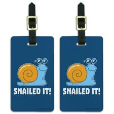 Snailed It Snail Nailed Funny Humor Luggage ID Tags Carry-On Cards - Set of 2