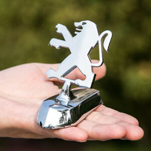1x3D Chrome Zinc Alloy Logo Front Hood Stand Decoration Badge Emblem fit Peugeot