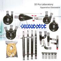 32PC Labor Destillation Chemie Apparat Wasser Glaswaren Graham Kondensator 24/40