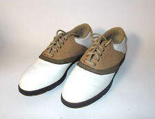 Footjoy TCX Womens Golf Shoes Size 6M Camel/White-Metal Spike-EXCELLENT