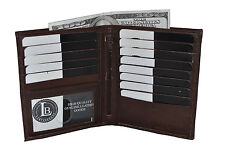 GENUINE LEATHER HIPSTER WALLET DARK BROWN NEW 13 CREDIT CARD SLOTS GREAT GIFT