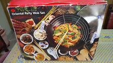 ORIENTAL NON STICK PARTY WOK  WITH CERAMIC COVERED HANDLES - NEW NEVER USED