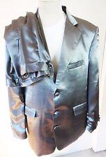 SILVER metalic suit silk satin pajamas large hugh hefner elvis pimp 2pcs set mod