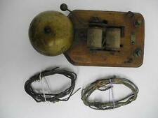 Antique Vintage Annunciator Bell with Wood Base and Original Wire