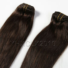 Full Head Clip in Dark brown Human Hair Extensions 7pcs Full Set Straight #2