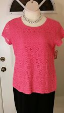 Faded Glory Lace Front T Shirt Blouse Coral Melon L 12 14