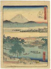 Hiroshige Ii, Landscape, Mount Fuji, Bridge, Original Japanese Woodblock Print