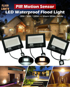 LED Floodlight PIR Sensor Motion 30-100W Outdoor Security Waterproof Flood Light