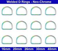 Welded D RINGS - 16mm, 20mm, 26mm, 30mm, 40mm - Rainbow / Titan Neo-Chrome