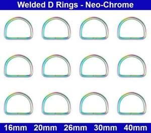 Welded D RINGS - 16mm, 20mm, 26mm, 30mm, 40mm - Rainbow / Titan Neo-Chrome