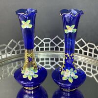 Bohemian Czech Moser Enamel Vases Blue Cobalt Set of 2 Vintage #EL16