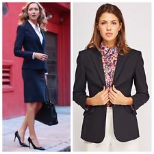 Women's Formal Curves Navy Pinstripe Lapel Lined Blazer Wool Office Skirt Suit