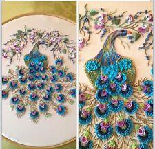 """Brazilian Dimensional Stitchery Embroidery Pattern. """"Majestic Peacock"""" *Ivory*"""