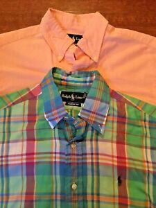 Ralph Lauren Polo Men's Pony Shirts Size S Classic Fit Button Down Plaid Pink