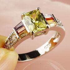 SIZE 7 New UNDER $20 Green Amethyst Pnk Morganite Garnet lab Sterling Fill Ring