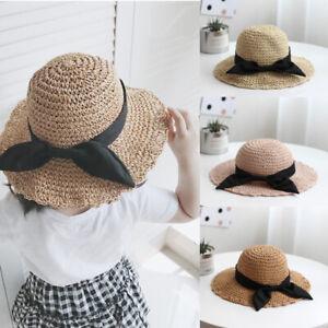 Prettyia Parent-child Sun Hats Womens Girls Wide Brim Beach Straw Floppy Cap