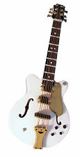 1:12th Scale White Gibson Guitar +Black Case Doll House Miniature Instrument 560
