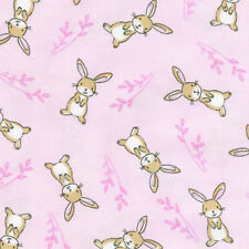 Brown Bunny Rabbit Toss Pink Cotton Fabric Timeless Treasures C4476 By The Yard