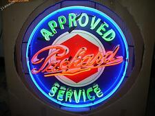 "24""X24"" PACKARD APPROVED SERVICE GAS & OILS PUMP AUTO REAL NEON SIGN LIGHT"