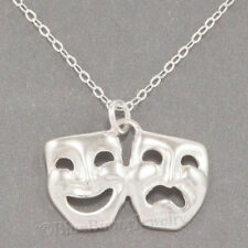 """COMEDY TRAGEDY DRAMA MASK Charm Pendant  925 STERLING SILVER 18"""" chain Necklace"""