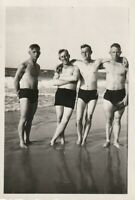 Vintage photograph, good-looking young men, shirtless, swimmers, gay interest