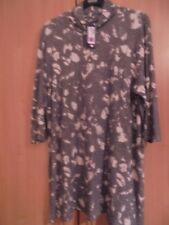 M&S LONG TUNIC GREY & CREAM WITH ROLL NECK SIZE 22  BNWT