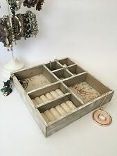 Rustic French Wooden Jewellery Box Craft Storage Tray 8 Sections Shabby Vintage