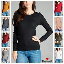NEW Women Thermal Mini Waffle Long Sleeve CREW NECK T-Shirt Top REG N PLUS S-3XL