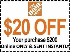 HOME DEPOT COUPON $20 OFF $200 ONLINE USE ONLY lNSTANT DELIVERY