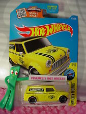 '67 AUSTIN MINI VAN #175 ✿Yellow/Black;Campbell Garage✿2016 Hot Wheels Case N/Q