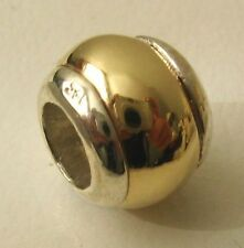 GENUINE SERENITY 9ct SOLID YELLOW GOLD & 925 STERLING SILVER CHARM DOME BEAD