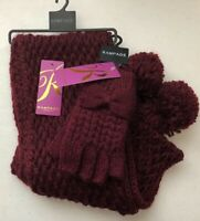 (NWT) Rampage Women's Burgundy Metallic Scarf & Fingerless Gloves One Size