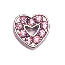 Pink CZ Rhinestone Love Heart Floating Charm For Glass Memory Locket Necklaces
