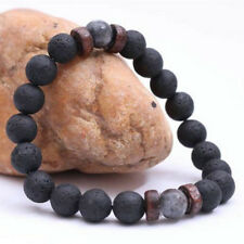 Men's Lava Stone Yoga Rock Beaded Stretch Gemstone Wrist Bracelet 8mm Beads