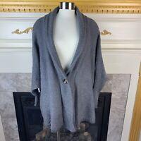 JANICE APPAREL OS Gray Dolman Sleeve Oversized 1 Button Acrylic Sweater