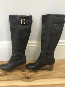 Vero Cuoio Quality Italian Leather Ladies Long Dark Brown Boots Size41 Worn Once