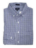 J Crew Factory - Mens M - Slim Fit - Navy Blue Micro-Gingham Washed Cotton Shirt