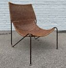 Frederick Weinberg Style Iron Wicker Sling Scoop Chair MCM Lounge Chair Mid Mod