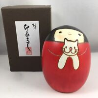 "Usaburo Japanese Kokeshi Wooden Doll 3.5""H Girl Sally and Her Cat Made in Japan"
