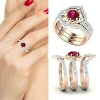 3pcs Gorgeous Flower Ring Jewelry Women Wedding Band Set Ring G7B6