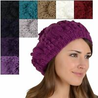 Pia Rossini Sierra Beret Womens Hat Chunky Cable Knit Pom Pom Blue Red Purple