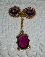 Vintage Rope Glass Amethyst Stones Dangle Brooch Pin Gold-tone Chain  A185